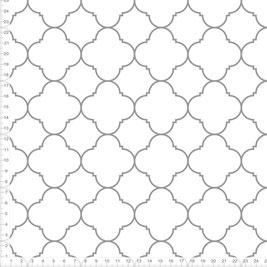 Bio-Stoff mit marokkanischem Muster in Weiß und Grau zum Nähen