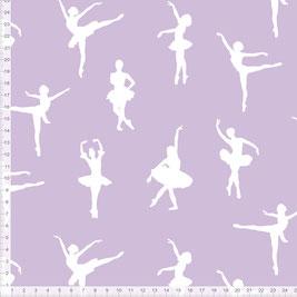 Kinderstoff für Mädchen mit Ballerinas in Lila zum Nähen