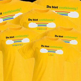 T-Shirts Kinder, Schulanfang, Flexdruck, Flockdruck, gelb, sunflower, Regenbogen, erste Klasse