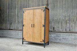 Salontisch aus Edelstahl und Nussbaum-Holz