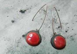 boucles d'oreilles pendantes rouges en céramique