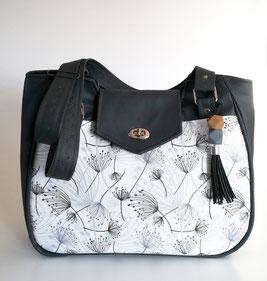 Shopper, Schultertasche Oslo, Canvas beige, Möwen, Außentasche mit Taschenfach, versteckter Reißverschluss, Kellerfalte