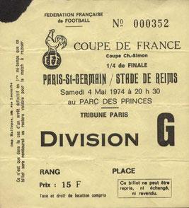 1974-05-04  PSG-Reims (Quart Finale Aller CF)
