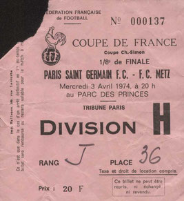 1974-04-03  PSG-Metz (8ème Finale Retour CF au Parc des Princes)