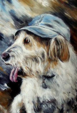 Hundeportrait auf Leinwand mit Acrylfarben gemalt.