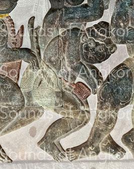 2. Tambour en gobelet. Angkor Vat, Bataille de Lanka. Galerie ouest. XIIe s.