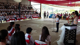 Acto cívico oficial en la escuela Joaquín L. Sancho en el distrito de Santiago. (30/07/15)