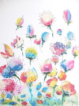 Galamos Rita Flowers of fantasy Acrylic on canvas  Dekorativmalerei Feldkirch  Malerin Vorarlberg Ungarische Designerin  Hungarian Painting