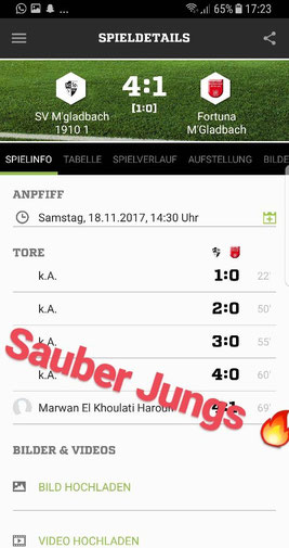 Spitzenspiel gegen Fortuna MG am 18.11.2017