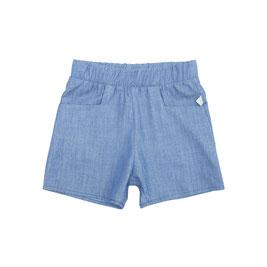 kurze Hose mit Gummibund und eckigen seitlichen Eingriffstaschen, aus leichter dunkelblauer Baumwolle in Denimoptik