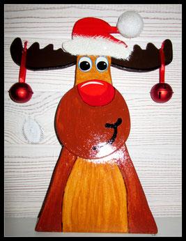 Renne en bois Père Noel