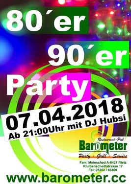 Party DJ 801er 90er Jahre Barometer Rietz