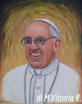 ritratto di Papa Francesco, olio su tela cm 40x50,  2013 collez. privata