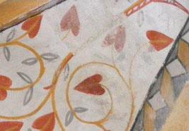 Superposition du décor de la voûte peint au XIXe  siècle et de celui plus pâle du XVIe siècle