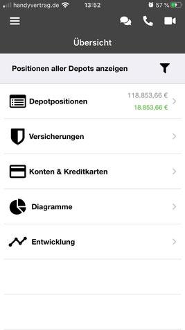 Screenshot verschiedener Rubriken der MAYERCONSULT App
