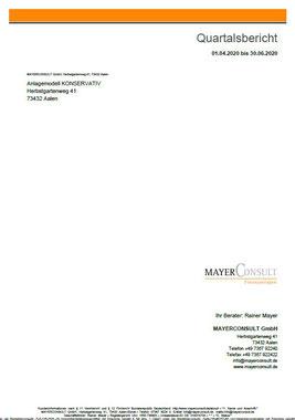 Quartalsbericht bei MAYERCONSULT - Ihr freier Finanz- und Versicherungsmakler in Aalen