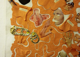 Detail ausschnitt aus dem ArtQuilt : Haut(e) Couture von Jutta Kohlbeck für die jurierte Ausstellung : Wandlungen / Perspektive gezeigt in der Textilsammlung Max Berk des kurpfälzischen Museums Heidelberg 2017