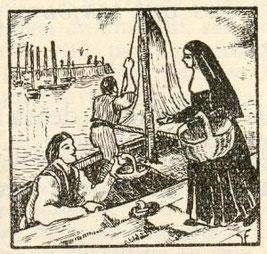 Les pemières soeurs Augustine allaient sur le port de Dieppe mendier du poisson pour les pauvres et malades.