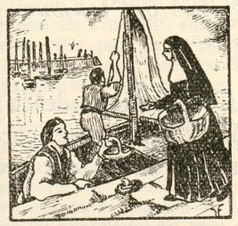 The first Augustine sisters beg for fish at Dieppe harbour to feed the poor and the sick.