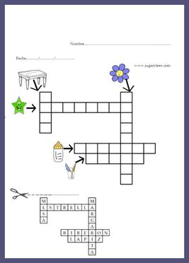 enfants espagnols mots croisés avec des graphiques