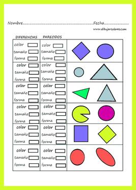 encontrar parecidos o diferencias de color, tamaño, forma...