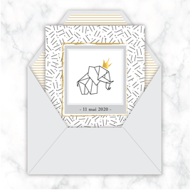 faire-part naissance numérique-faire part naissance digital-faire part numérique-pdf imprimable-pdf numérique-faire part digital-faire part à imprimer -faire-part à envoyer par mms -à envoyer par mail-réseaux sociaux-Elephant couronne-doré-origami-