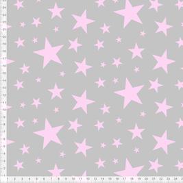 Bio-Stoff für Mädchen und Babys mit Sternen in Rosa auf Grau zum Nähen - andere Farben möglich