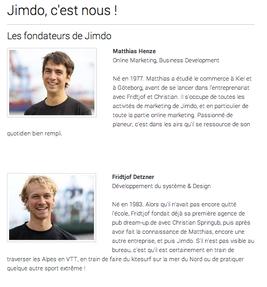 Capture d'écran du début de la page présentant l'équipe Jimdo