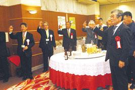 ソラシドエアの石垣―沖縄線就航1周年記念感謝の集いが開かれた=29日夜
