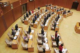 「抗告訴訟」議案が賛成26人、反対13人、退席5人の賛成多数で可決された=18日、県議会
