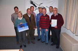 Von links nach rechts: V. Gebhard (Sprecher), R. Stempfle (20 Jahre), G. Daum (Kassenprüfer), N. Schupp (Sprecher), R. Götz (Beirat), C. Sonne (Kassenprüfer), J. Illmann (Beirat), M. Riedle (40 Jahre), Foto: Schupp