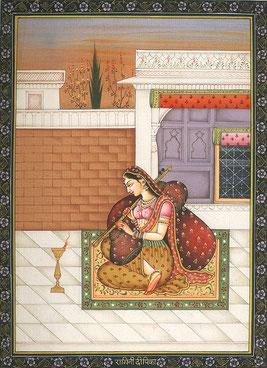 Representación pictórica (ragamala) de la ragini Dipak