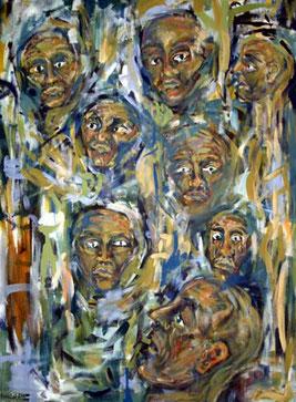 Drinnen und Draußen - Das neunte Gesicht, 80 cm x 110 cm, Gouache auf Baumwolle, 2004