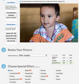 Picresize is a free online picture resizer with interesting options