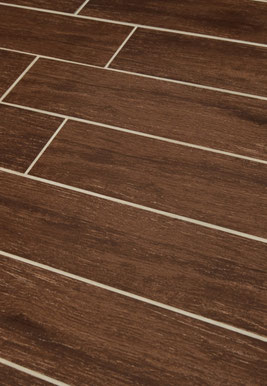 Brown wood porcelain tiles with off-white grout