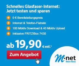 VDSL und Glasfaser Tarif von M-net