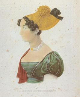 La belle Autrichienne, Kupferstich von J. Waldherr; aus: F. C. Lipp: Goldhaube und Kopftuch, S. 67