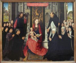 Hans Hemling - Vierge à l'enfant entre St Jacques et St Dominique - huile sur toile - 1485-1490 - Musée du Louvres, Paris.