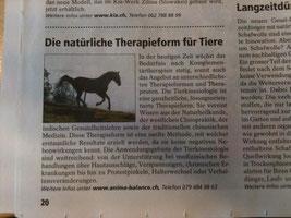 Anima-Balance | Tiertherapie Praxis für Pferde, Hunde & Katzen | Tierakupunktur, Tierkinesiologie, Komplementärmedizin, Blutegel | Tierwelt 03/2014