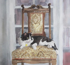 Cat on Chair by Barbara Ellison