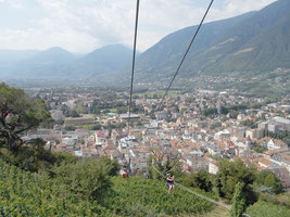 Panorama Sessellift Dorf Tirol, Blick Meran