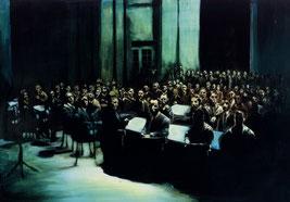 Die Menschen im Kollektiv, der Betrachter als Zentrum des Geschehens, so male ich einen Moment der Stille und schaffe einen Raum, eine Versammlung, in die man eingebunden ist, denn sie wartet auf eine