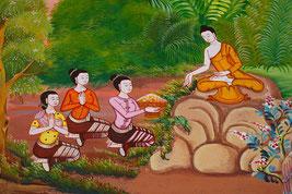 Dessins représentant trois méditants, assis en tailleur, face à un sage asiatique assis sur un rocher