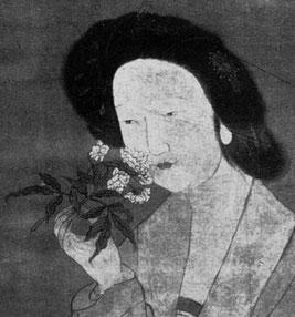 Beauté respirant une fleur de pivoine, Peinture de l'époque des Ming.