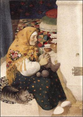 Бабушка заснула, Филипок стал искать шапку.