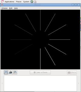Cheeseでwebカメラをチェックしてみる、ドライバが動作していればこの画面のあと画像がでる