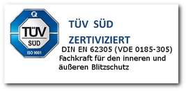 Fachkraft mit TÜV- Zertifikat für inneren ünd äußeren Blitzschutz.