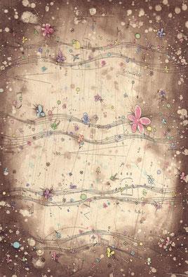 poppiness score腐蝕銅版画 インク/ハーネミューレ・雁皮29.5×20cm