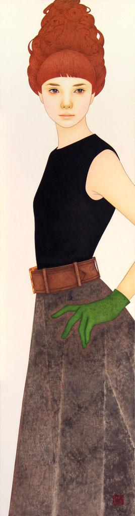「ともに歩く道」 雲肌麻紙に岩絵具、水干絵具、墨、顔彩 1160x300mm
