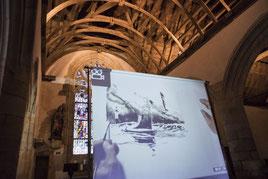 Finissage 2019, Emmanuel Lepage dessine dans la chapelle St-Philibert